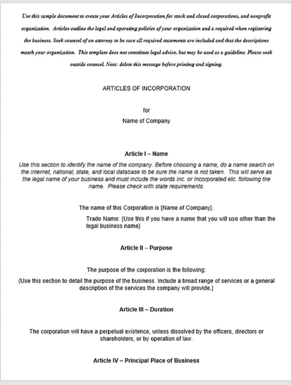 Business Or Nonprofit Articles Of Incorporation Template