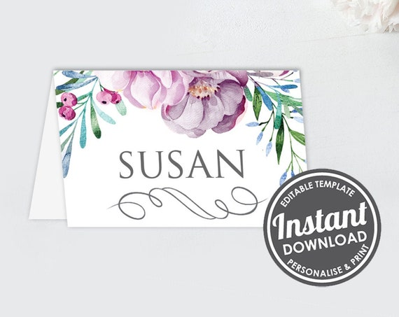 Tent style place card - Muted Floral Menu - Instant Download - Pastel Blooms - Editable Place card- Wedding Stationery