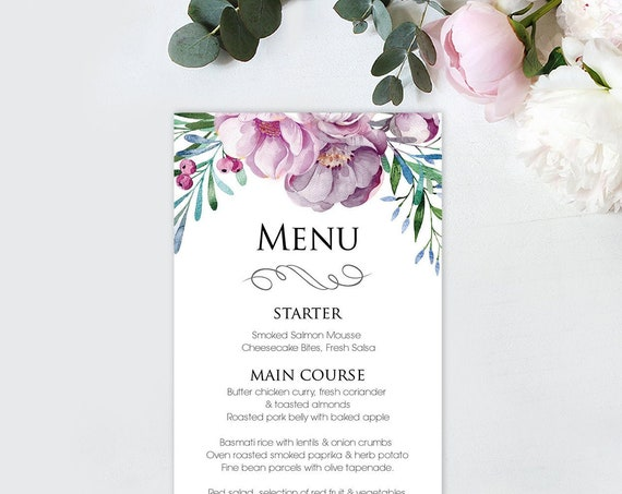 Muted Floral Menu - Instant Download - Pastel Blooms - Editable Menu - Wedding Stationery