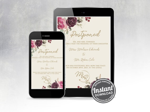 Change the date, Wedding postponement announcement – Digital download
