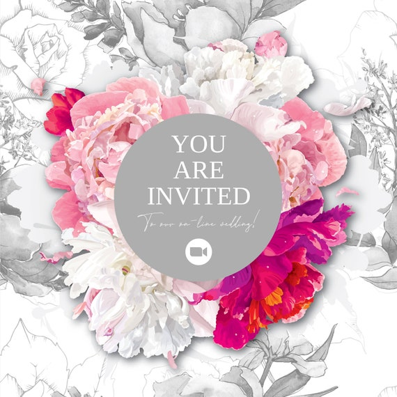 Almost Free Lockdown Wedding Invitation - On-line Wedding Invitation, Pink and white