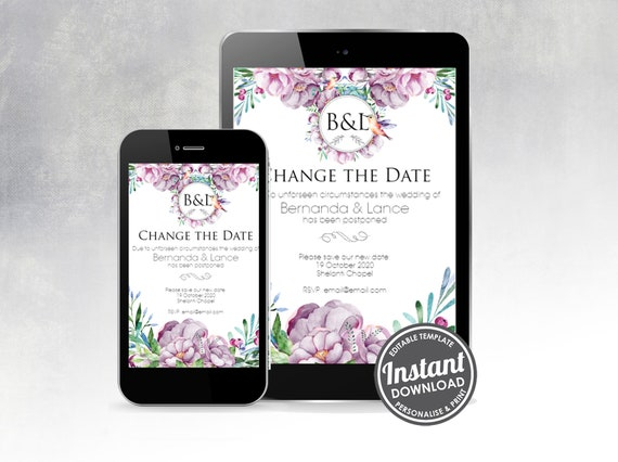Change the date, Wedding postponement announcement - Digital download