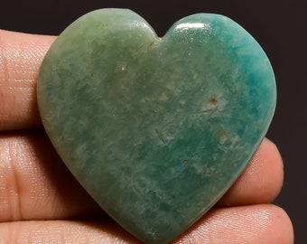Natural Amazonite Heart Shape Cabochon Loose Gemstone ZA 2999 Smooth Polished Amazonite Heart Shape For Pendant Making Gemstone