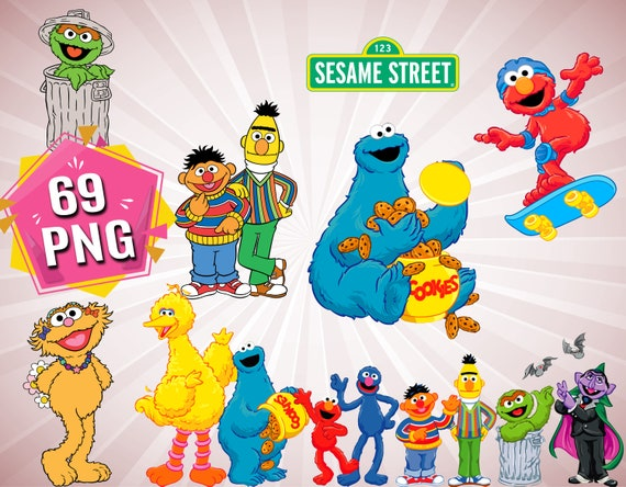 Sesame Street Clipart Sesame Street Png Files Sesame Printable Elmo Clipart Elmo Cartoon Characters Big Bird Clipart Instant Download