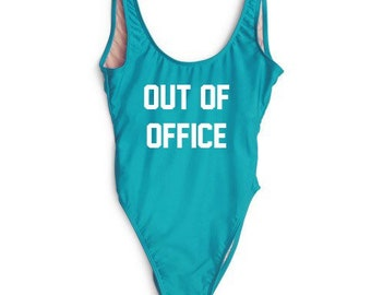 5661442538f29 Out of Office Custom Text Swimwear Monokini Vacation Blue