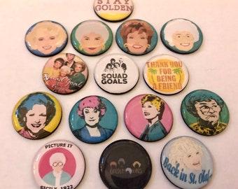 "Golden Girls 1"" magnets/pins. Set of 15"