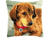 Needlepoint Kit Vervaco Pillow quot Dog Dachshund quot , Cross Stitch kit, Embroidery kit, size 16 quot x16 quot (40х40 cm), Printed Canvas Zweigart
