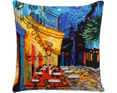 Modern Needlepoint Kit, Cross Stitch Kit, Embroidery kit pillow quot Night cafe, V. van Gogh quot Size 16 quot x16 quot (40х40 cm), Printed Canvas