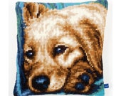 Needlepoint Kit Vervaco Pillow quot Cute dog quot , Cross Stitch kit, Embroidery kit, size 16 quot x16 quot (40х40 cm), Printed Canvas Zweigart