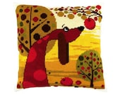 Needlepoint Kit Pillow quot A dog in the garden quot , Cross Stitch Kit, Embroidery kit Pillow case size 16 quot x16 quot (40х40 cm), Printed Canvas Zweigart
