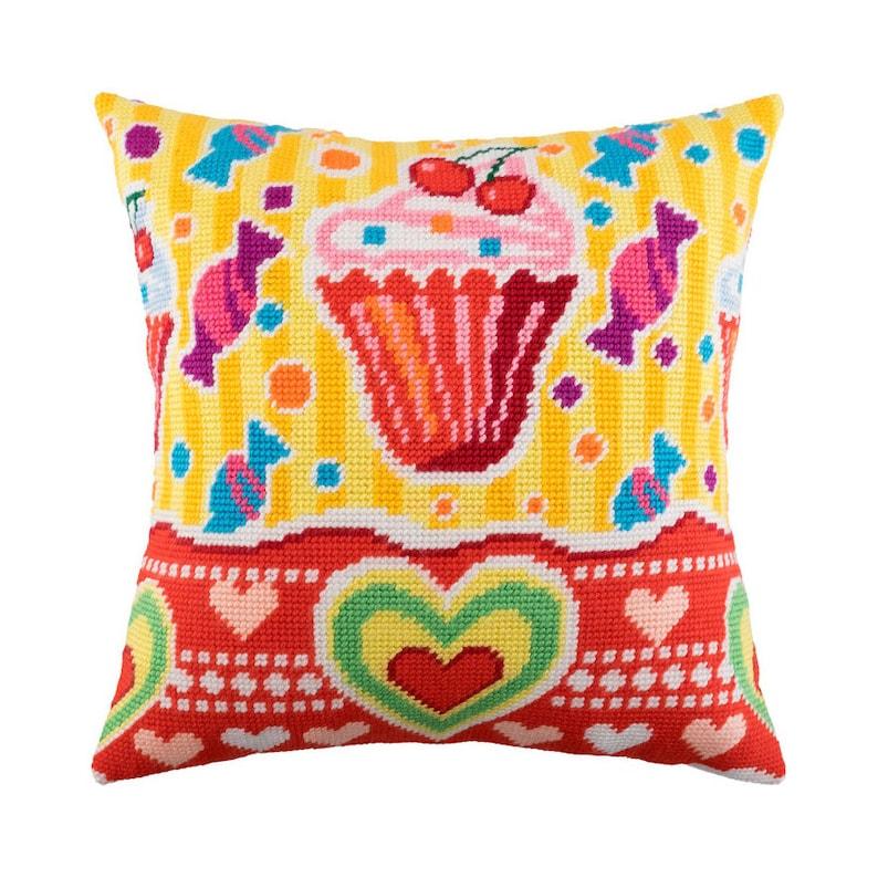Printed Canvas Zweigart Needlepoint Kit Pillow Sweets Cross Stitch Kit size 16x16 Embroidery kit Pillow 40\u044540 cm