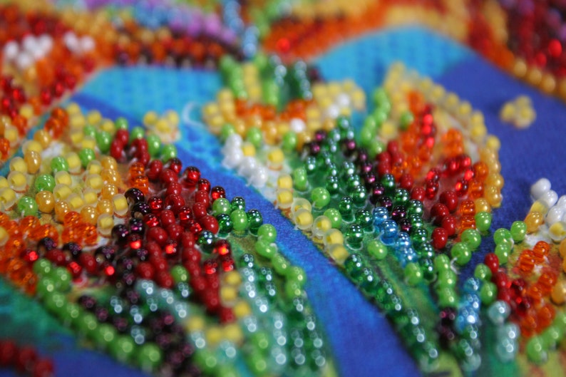 Bead DIY Embroidery Kit Multicolored iris Size 15x15 cm