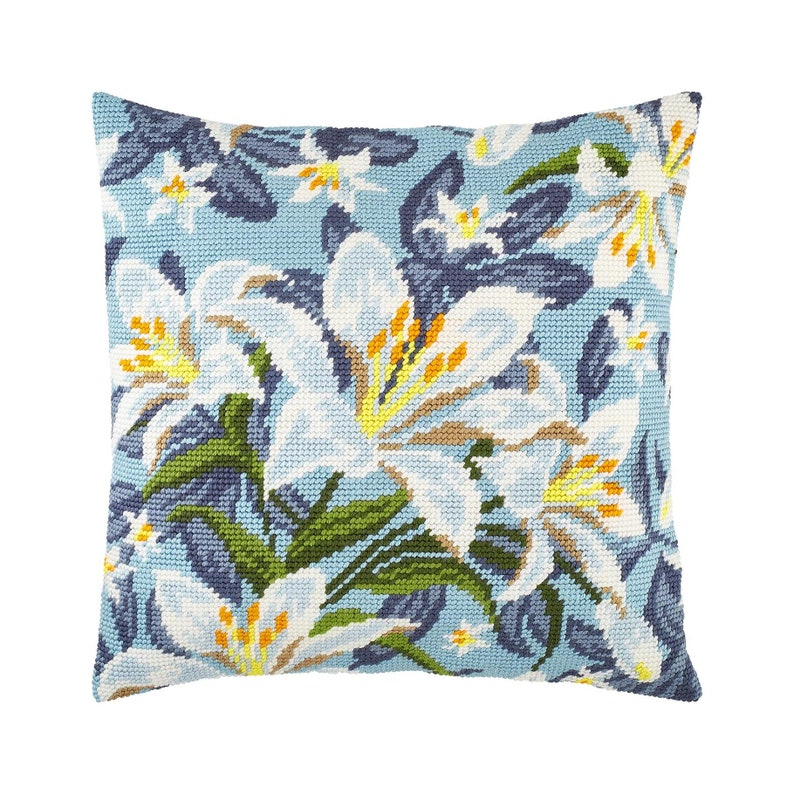 DIY Needlepoint Pillow Kit White Lilies Tapestry DIY Kit