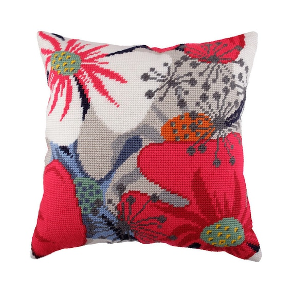 "Needlepoint//Tapestry Pillow Cover DIY Kit /""Tropical Sunset/"""