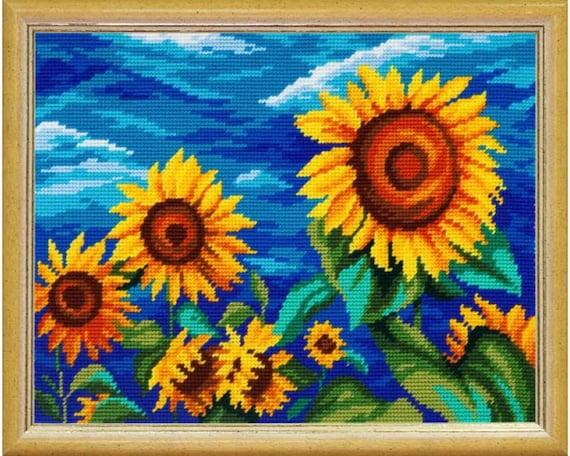"Needlepoint//Tapestry Pillow Cover DIY Kit /""Sunflowers/"""