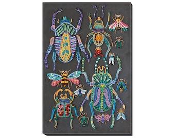 "DIY Bead embroidery kit on art canvas ""Beetles"" Beadwork kit, Abris Art A01, diy needlework craft kit"