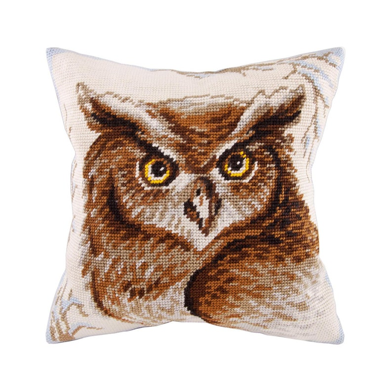 DIY Needlepoint Pillow Kit Owl Tapestry cushion   Etsy