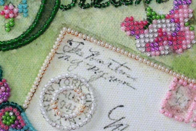 Bead Embroidery Kit on art canvas Dream Beading pattern kit Size: 5.9x5.9 15x15 cm Bead stitch painting Abris13