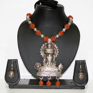 Haram Traditional Boho Trendy Handcrafted Oxidized Motif Necklace With Handmade Cotton Thread Bead Tribal Jewelry Ethnic India Jewelry