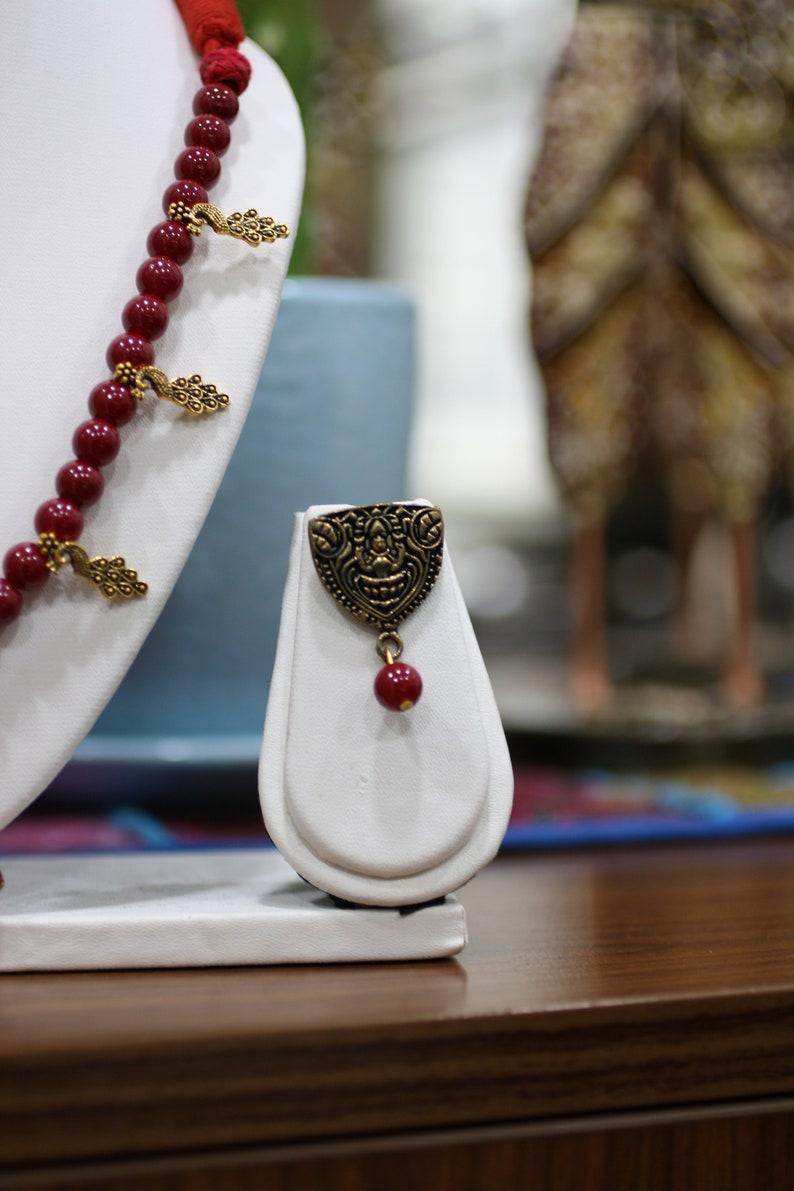 Gift For Her Handmade Indian Goddess Lakshmi Necklace /& Jhumka Ear Ring Set