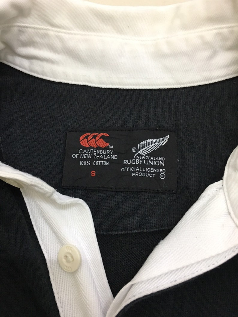 Vintage CANTERBURY New Zealand STEINLAGER All Black Rugby Jersey Polo Shirt Size Small