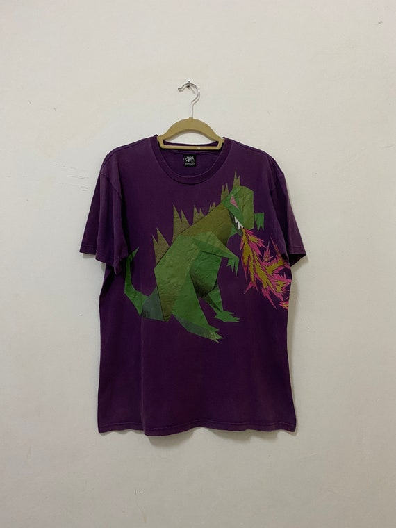 Vintage Stussy Shirt Dinosaur Dragon Streetwear T… - image 1