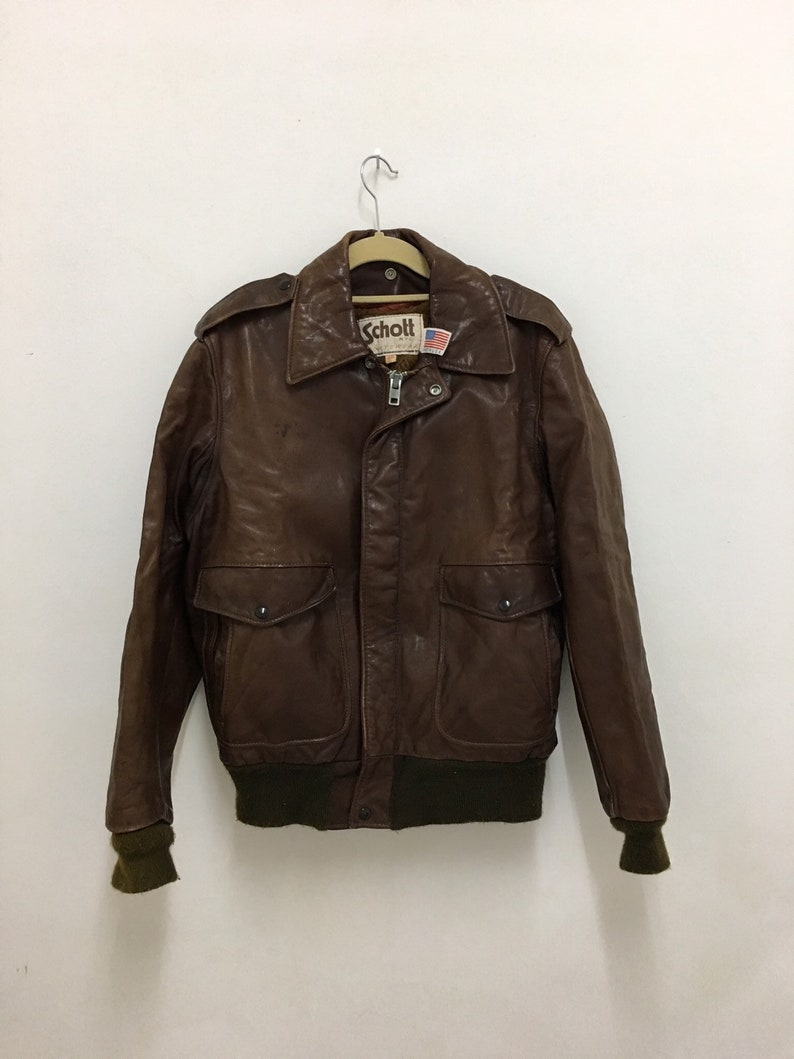 8ae6132d0 Vintage Schott NYC Brown Leather jacket Made in USA Size 38