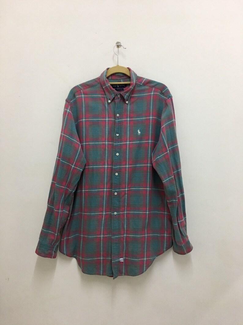 Up Ralph Size Vintage Polo Lauren Button Flannel Shirt Plaid L OPikXZu