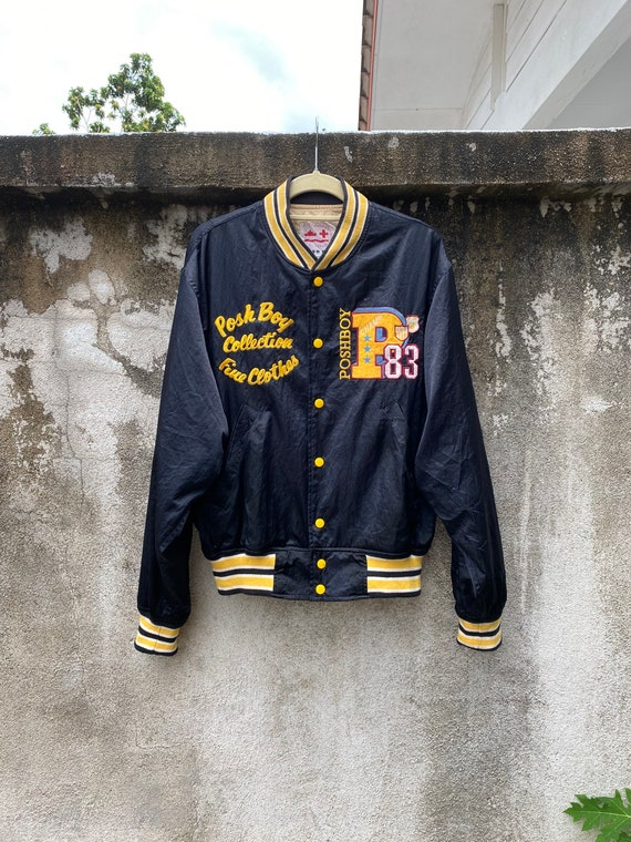 Vintage Posh Boy Jacket Varsity Satin Black Bomber