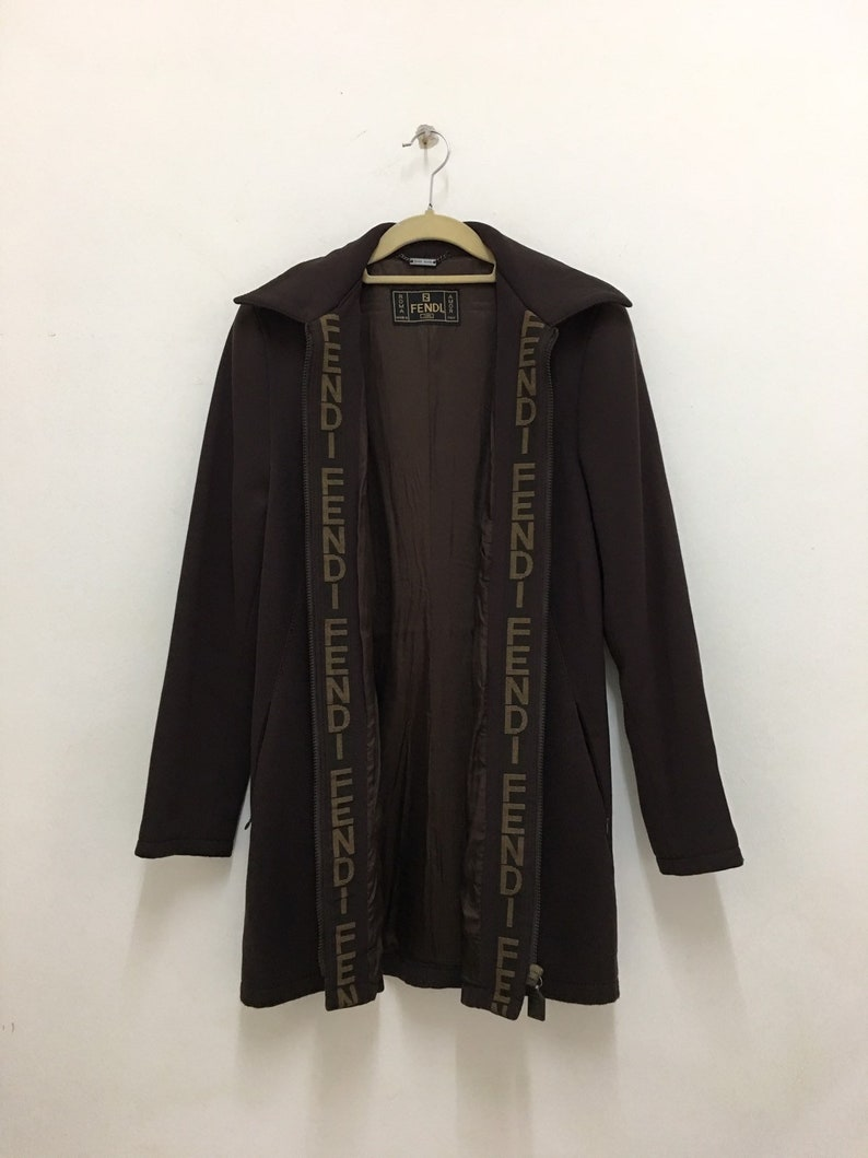 71c0011a Vintage FENDI Jeans Jacket Brown Zucca FF Logo Fendi Trench Coat Made In  Italy
