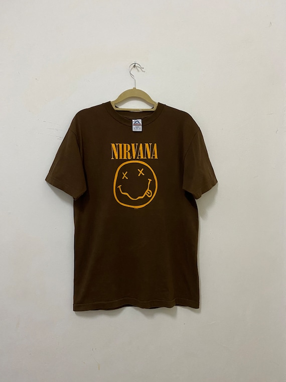 Nirvana Shirt Smiley kurt Cobain T Shirt Size Medi