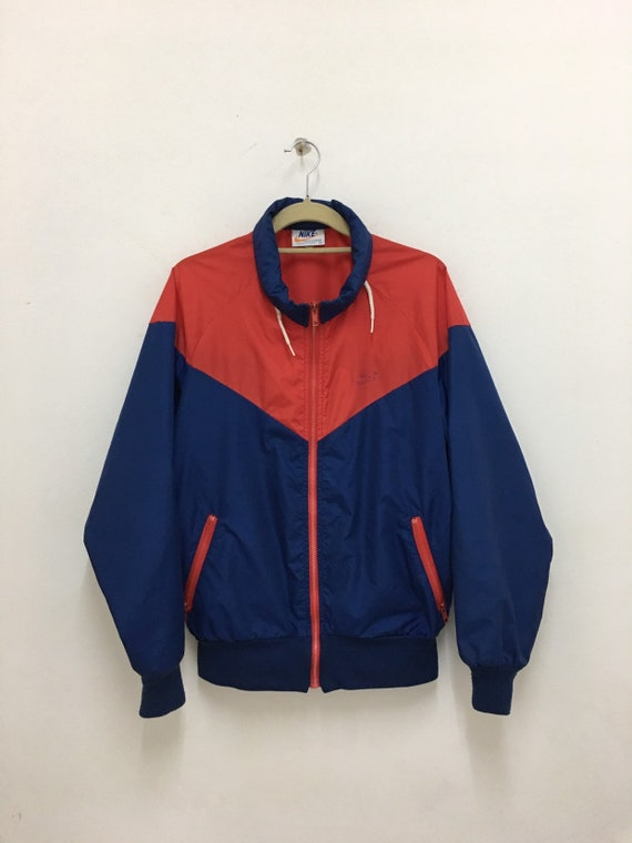 Vintage Nike Windbreaker Orange Tag Nylon Jacket Red Navy Blue Made In Usa L