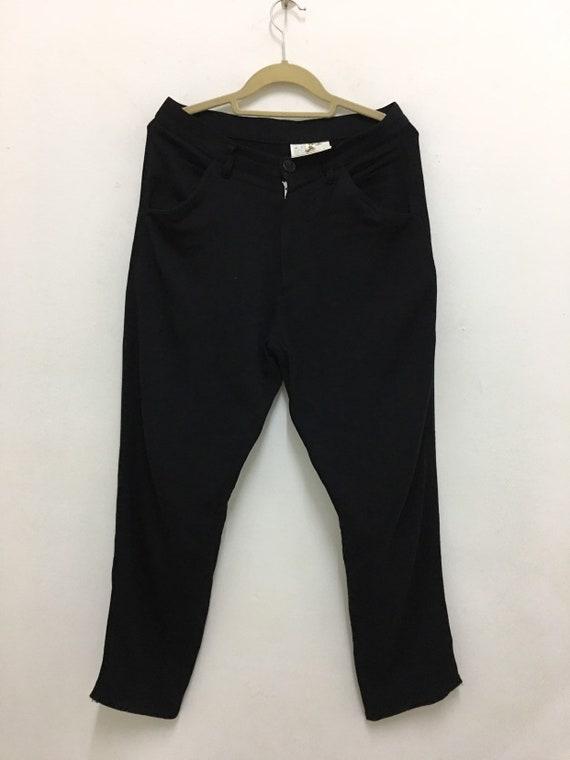 Comme des Garçons Trousers Black Rayon Pants Vinta