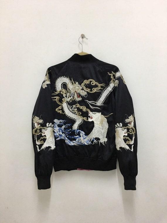 Sukajan Jacket Bloody Skull Dragon Tiger Reversibl