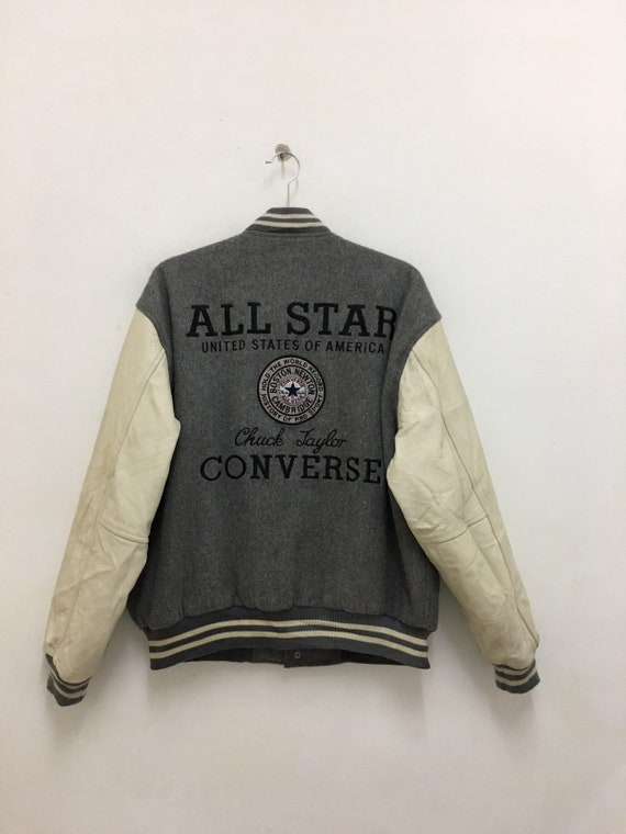 Vintage Converse Jacket All Star Chuck Taylor Snap Up Varsity Leather Wool Jacket Size Medium