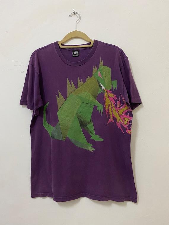 Vintage Stussy Shirt Dinosaur Dragon Streetwear T… - image 7