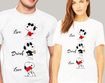 b516621bfe70a8 Snoopy Peanuts Cartoon Happy Cute Retro T Shirt Peanuts Snoopy Dog Funny  Live Drink Love T shirt