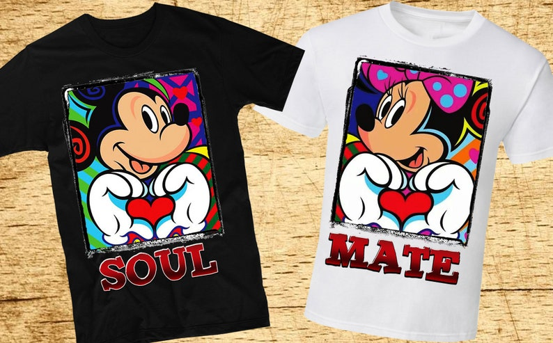 0f09de1a31 SoulMate Disney Couple Shirts Mickey Mouse T-Shirt Minnie | Etsy
