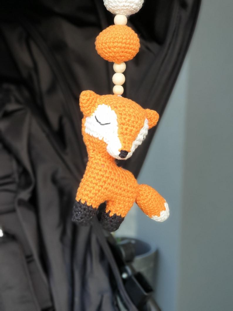 baby mobile hanging toy rattle Sleepy Fox crochet baby pram accessory nursery decor play gym toy fox