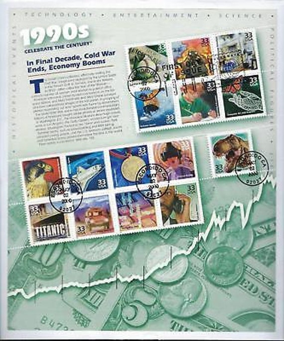 USA First Day Cover - 1990s Celebrate The Century Full Stamp Sheet! - (CN64)