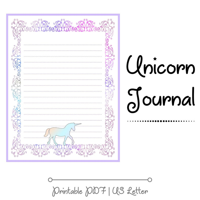 Unicorn Planner & Journal Pages Weekly Goal Tracker image 0