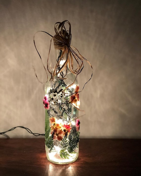 Real, Hand-pressed Flowers Sealed Onto Glass Bottle Lamp