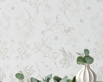 Minimal Floral Wallpaper. White and Grey. Removable and Self Adhesive. Peel and Stick Wallpaper. Accent Wall. Mural. Any Color Available.