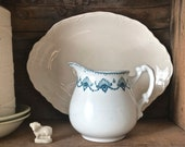 Antique White Ironstone with Blue Transfer Ware Pouring Pitcher Jug Made in England