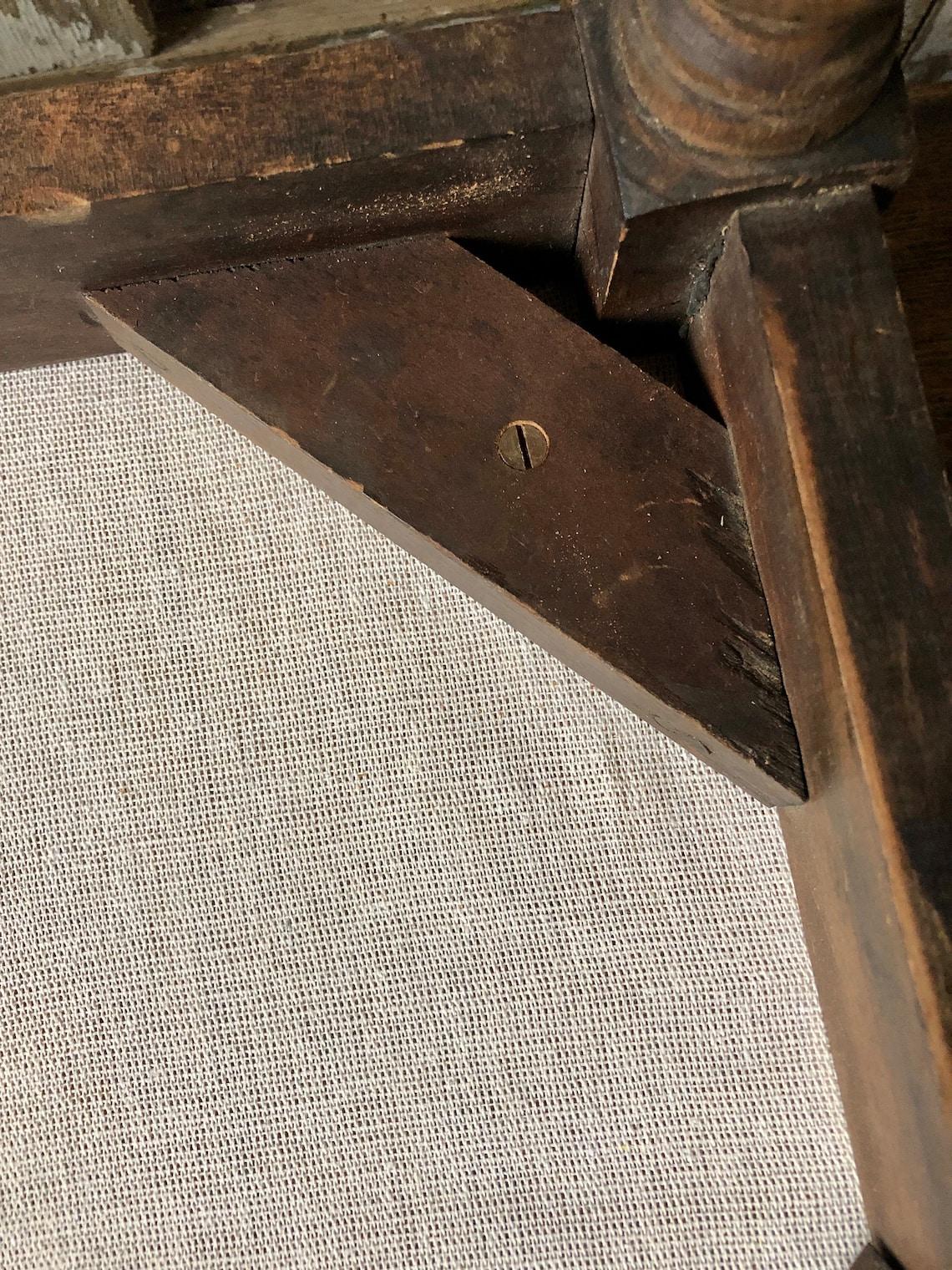 Vintage Footstool Ottoman Covered in European Grain Sack