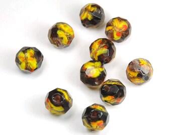 Lot de 4 perles en verre Feuille d'Argent Galets 20mm Améthyste