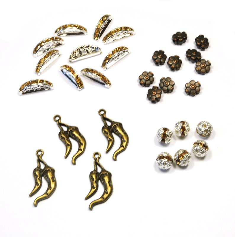 Lot 30 metal beads and silver rhinestones bronze and copper