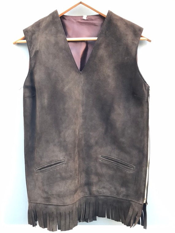 60's suede vest with fringe