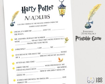 picture relating to Harry Potter Mad Libs Printable known as Harry potter video game Etsy