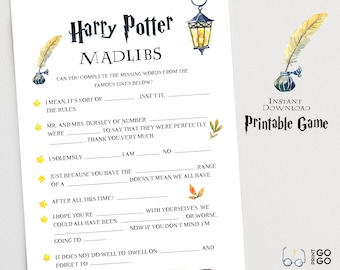 graphic relating to Harry Potter Mad Libs Printable called Harry potter sport Etsy